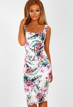 Tropicana Heat White Multi Tropical Bodycon Midi Dress
