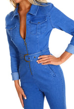 Turning Heads Denim Zip Front Long Sleeve Jumpsuit