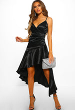 Black Satin Frill Dip Hem Midi Dress