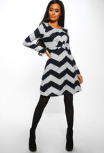 Chevron Twist Front Long Sleeve Dress - Full Front View