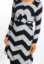 Chevron Twist Front Long Sleeve Dress - Close Up