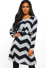 Chevron Twist Front Long Sleeve Dress