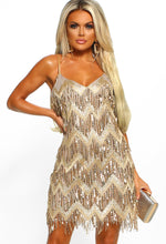 Ultimate Glam Gold Sequin Fringe Mini Dress