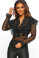Ultimate Hun Black Crochet Ruffle Detail Blouse