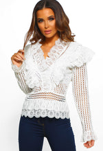 White Crochet Ruffle Detail Blouse - Front view