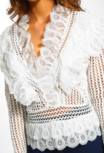 White Crochet Ruffle Detail Blouse - close up view