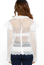 White Crochet Ruffle Detail Blouse - Back view