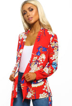Red Floral Print Long Sleeve Wrap Blouse - Front view