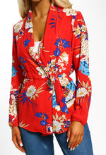 Red Floral Print Long Sleeve Wrap Blouse - Close up view