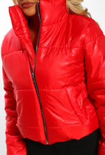 Underground Glam Red Metallic Cropped Puffer Coat