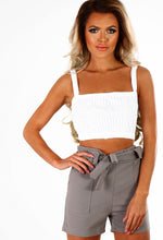 Unsweet WHITE Belted High Waisted Shorts
