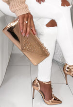 Upgrade You Rose Gold Spike Clutch Bag