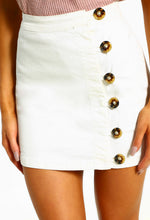 Upper Eastside White Button Detail Denim Mini Skirt