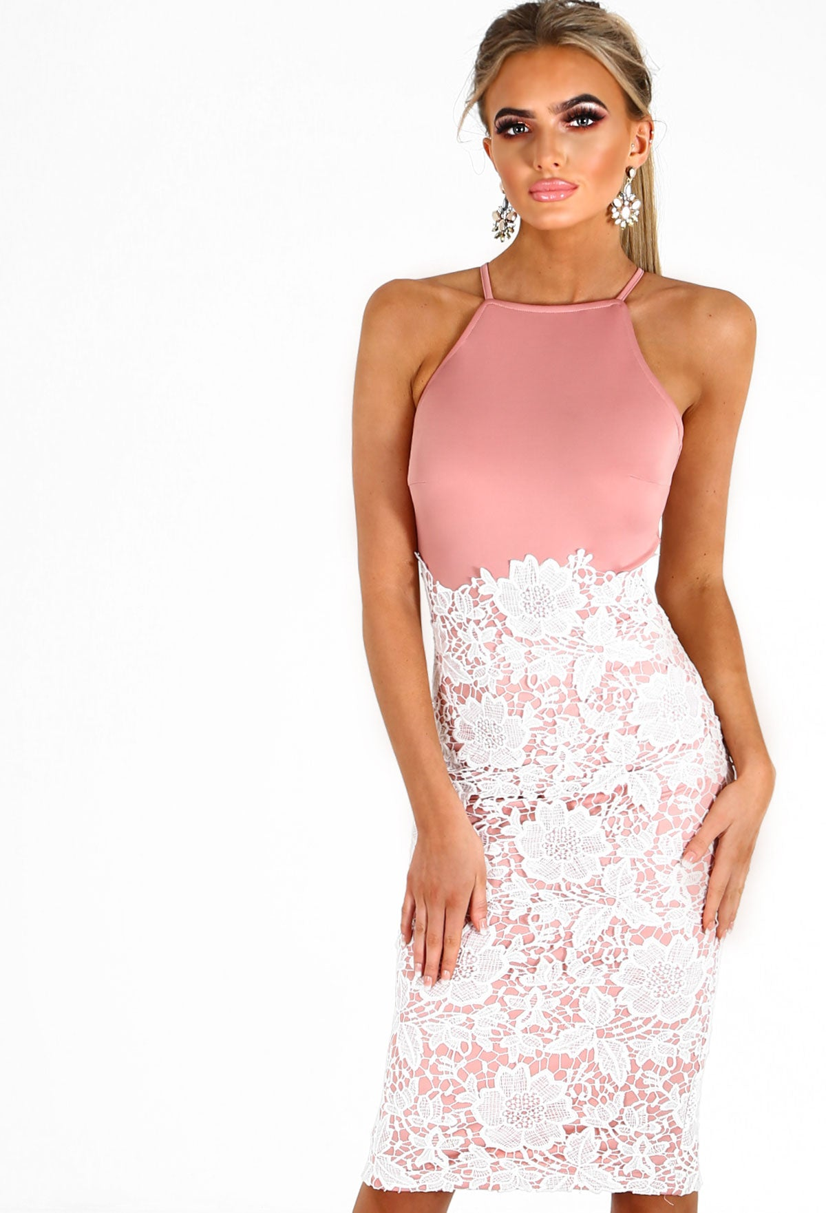 013be40c94 Valentina Pink And White Lace Midi Dress – Pink Boutique UK