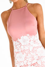 Pink And White Lace Midi Dress - Close Up