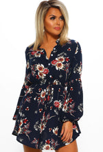 Navy Multi Floral Print Long Sleeve Mini Dress