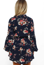 Navy Multi Floral Print Long Sleeve Mini Dress - Back View