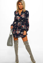 Navy Multi Floral Print Long Sleeve Mini Dress - Full Front View