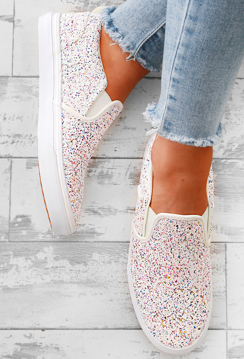 new product huge selection of new arrival Vans My Asher White Multi Glitter Pumps – Pink Boutique UK