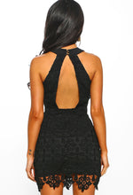 Vegas Weekend Black Crochet Lace Up Halterneck Mini Dress