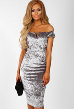 Velvet Vixen Grey Velvet Bardot Midi Dress