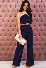 Navy Halterneck Wide Leg Jumpsuit - Front with Background