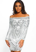 Vision Of Beauty Silver Sequin Bardot Mini Dress