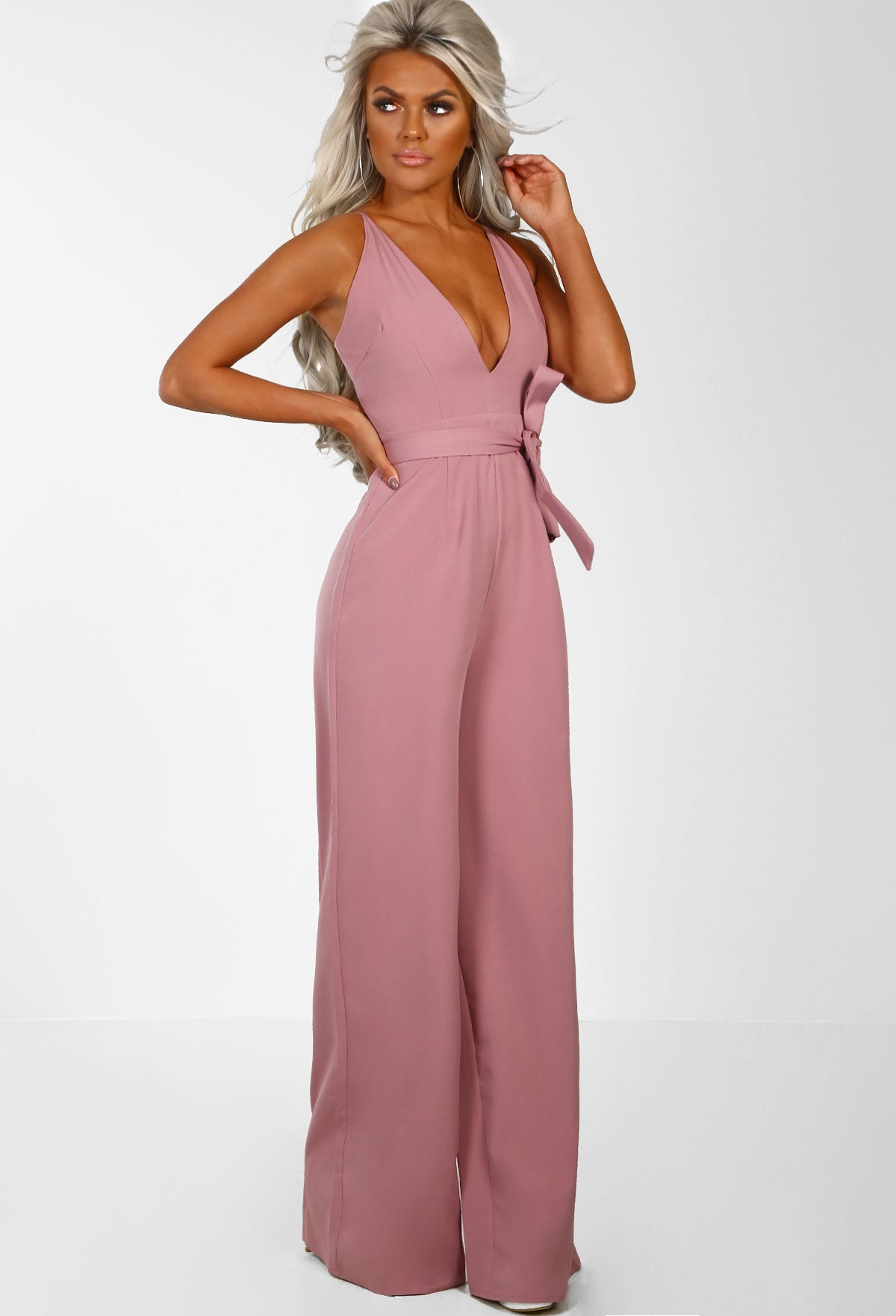 a2bc9073a5f Visions Of Love Blush Pink Plunge Wide Leg Jumpsuit – Pink Boutique UK