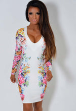 Vivica White and Floral Panel Bodycon Dress