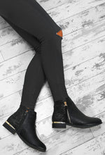 Walk N Glow Black Glitter Zip Detail Ankle Boots