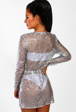 Walk Of Fame Silver Sequin Long Sleeve Cover Up