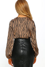 Brown Tiger Print Long Sleeve Bodysuit - Back View