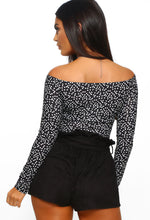 Black Polka Dot Bardot Bodysuit