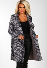 Wall Street Ready Grey Leopard Print Trench Coat