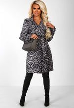 Grey Leopard Print Trench Coat