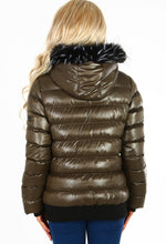 Warm Hugs Khaki Metallic Fur Trim Hooded Puffer Coat