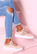 Weekend Whirl Pink Glitter Platform Trainers
