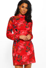 Red Floral Print Long Sleeve Mini Dress