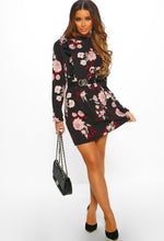 Black Floral Print Long Sleeve Mini Dress - Full Front View