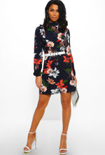 Navy Floral Print Long Sleeve Mini Dress - Front View