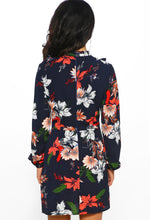 Navy Floral Print Long Sleeve Mini Dress - Back View