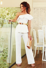 White One Shoulder Jumpsuit - Front with Background
