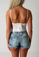 Davina White Crochet Crop Top