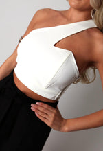 Elida White Asymmetric Cut Out Crop Top