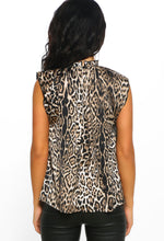 Leopard Print High Neck Sleeveless Blouse - Back view