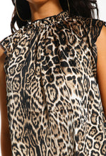 Leopard Print High Neck Sleeveless Blouse - Close up view