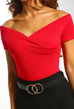 Red Bardot Bodysuit  - Close Up View