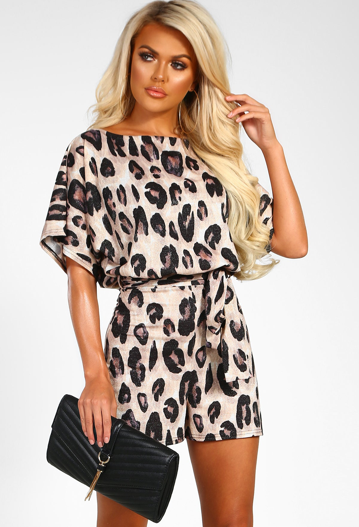 Wild Paradise Brown Leopard Print Lurex Belted Playsuit – Pink ... beb6a9b2a