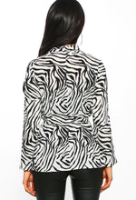 Zebra Print Long Sleeve Blouse