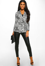 Zebra Print Long Sleeve Wrap Blouse